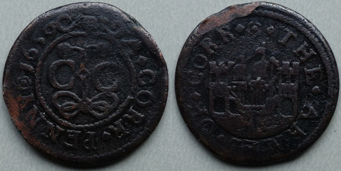 Cork, city issue penny 1659